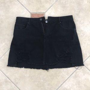 Dresses & Skirts - Black distressed denim skirt
